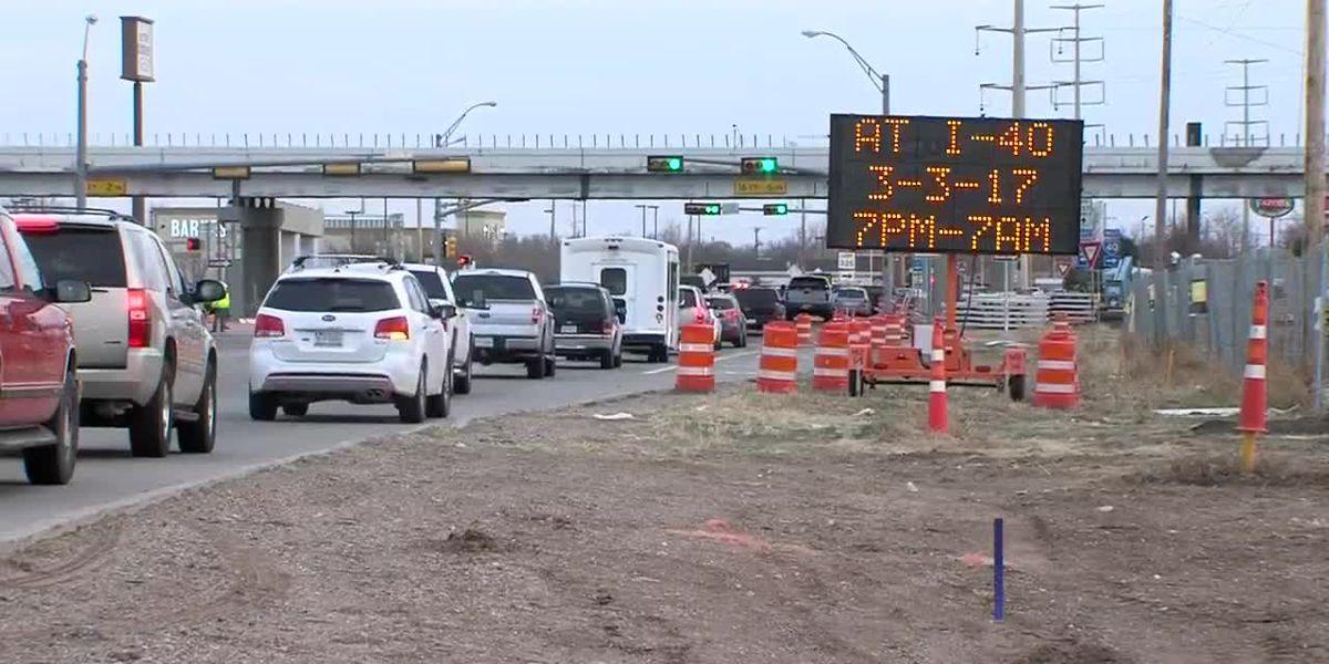 Construcción en el puente de I-40 y la calle Soncy